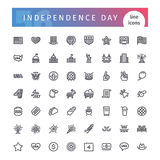 USA Independence Day Line Icons Set. Set of 56 USA Independence Day line icons suitable for web, infographics and apps. 4th of july. Isolated on white background royalty free illustration
