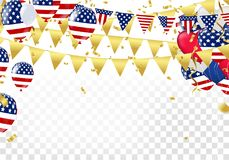 USA Independence day poster with air balloons and with a garland. From American flags. American Memorial Day celebration poster, vector illustration Royalty Free Stock Photo