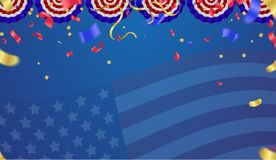 USA Independence day poster with air balloons and with a garland. From American flags. American Memorial Day celebration poster, vector illustration Royalty Free Stock Photography