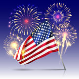 USA Independence day poster with firework and flag. Celebration holiday with fireworks, vector illustration Royalty Free Stock Photography