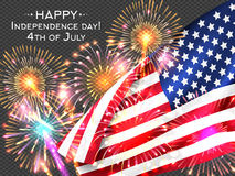 USA Independence day poster with firework and flag Stock Photography