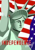 USA Independence day poster. Statue of Liberty monument, flag USA on background and text. Vector illustration. Royalty Free Stock Photo