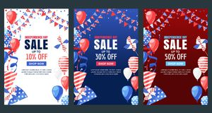 USA Independence Day. Sale vector banner. Holiday background with flag, air balloons, fireworks. 4 of July celebration. USA Independence Day. Set of vector Royalty Free Stock Image
