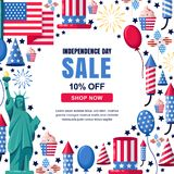 USA Independence Day sale vector banner template. Holiday white frame background. 4 of July celebration concept. USA Independence Day sale vector banner Royalty Free Stock Image