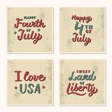USA Independence Day set lettering. A set of vintage cards with hand lettering quotes. 4th of July. USA Independence Day. Vector illustration Royalty Free Stock Image
