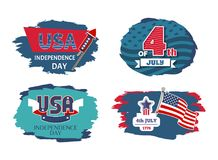 USA Independence Day Set, Vector Illustration. USA Independence day set with headlines and flags, petards celebration of holiday held in 4th of July, American royalty free illustration