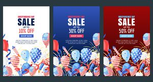 USA Independence Day. Sale vector banner. Holiday background with flag, air balloons, fireworks. 4 of July celebration. USA Independence Day. Set of vector Royalty Free Stock Photography