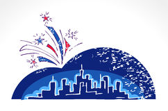 USA Independence Day. Skyline on dark night sky with the fireworks - vector design. Hand drawn abstract skyscrapers and fireworks. Fireworks over night megapolis Royalty Free Stock Images