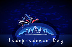 USA Independence Day. Skyline and Fireworks during Independence Day - hand drawn greeting card for 4th of July. Fireworks over night megapolis city. Silhouette Stock Photos
