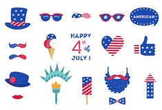 USA Independence Day 4 th of July Photo Booth Party Props of American Symbols.  vector illustration