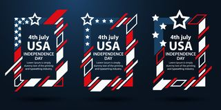 USA independence day. 4th of July set of frames for text. Modern art graphics. Dynamic vertical frames, stylish background. Elemen. T for advertising design Vector Illustration