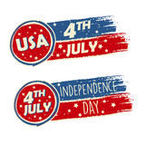 USA Independence Day and 4th of July with stars in drawing banne. Rs - American holiday concept stock illustration