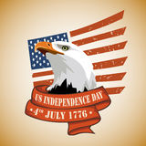 USA Independence day 4th july. US Independence Day 4th july 1776. The head of an eagle against the backdrop of the US flag, stylized star Royalty Free Stock Photo