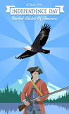 USA Independence day 4th july. Independence Day. US Independence Day. Minuteman and the eagle against the backdrop of the American landscape. Happy Independence Stock Images