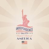 USA Independence day vector design template. Liber. USA Independence day poster vector retro design template. 4th of July celebration. American National holiday Stock Photos