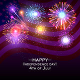 USA independence day vector poster with fireworks. Independence celebration and firework on independence day usa illustration Royalty Free Stock Photography