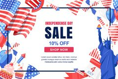 USA Independence Day. Vector sale banner, poster. Holiday frame with white background. 4 of July celebration symbols. USA Independence Day. Vector sale banner Stock Images