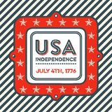 USA Independence Day vintage emblem. Patriotic Independence Day badge with retro style. It reads USA Independence - July 4th, 1776. It has a diagonal striped Royalty Free Stock Image