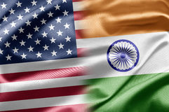 USA and India. USA and the nations of the world. A series of images with USA flag Royalty Free Stock Photos