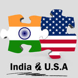 USA and India flags in puzzle Stock Photography