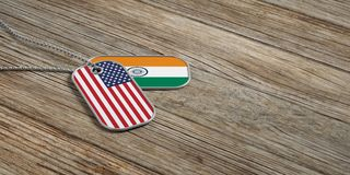 USA and India military relations, Identification tags on wooden background. 3d illustration. USA and India military relations, Identification dog tags on wooden Stock Photo