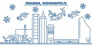USA, Indiana , Indianapolis winter city skyline. Merry Christmas and Happy New Year decorated banner. Winter greeting royalty free illustration