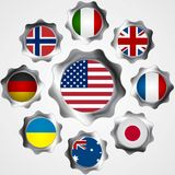 USA influence. Metal gears and flags Stock Images
