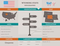 USA - Infographic Schablone Wyoming-Staates Stockfoto