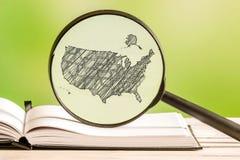 USA information med en blyertspennateckning Arkivbild