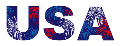 USA initials fireworks. USA initials  fireworks  with red white blue Royalty Free Stock Images