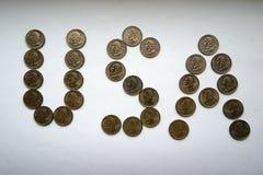 USA - inskrift från mynt Royaltyfri Bild