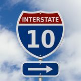 USA Interstate 10 highway sign Stock Image