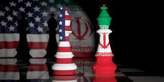 USA and Iran. US America and Iran flags on chess kings on a chess board. 3d illustration. USA and Iran relationship. US America and Iran flags on chess kings on Stock Image