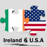 USA and Ireland flags in puzzle Stock Image