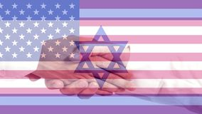USA and Israel flag with handshake. Closeup royalty free stock photography