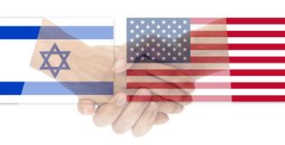 USA and Israel flag with handshake. Isolated on white background royalty free stock photos