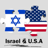 USA and Israel flags in puzzle Stock Photos
