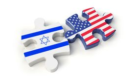 USA and Israel flags on puzzle pieces. Political relationship co Stock Images