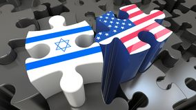 USA and Israel flags on puzzle pieces. Political relationship concept. 3D rendering vector illustration