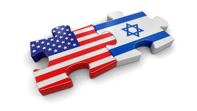 USA and Israel puzzle from flags Stock Image