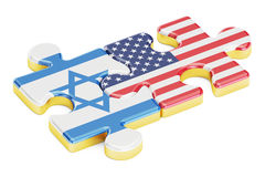 USA and Israel puzzles from flags, relation concept. 3D renderin Stock Photo
