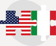 USA and Italy Flags in puzzle Royalty Free Stock Photography