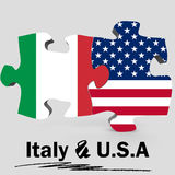 USA and Italy flags in puzzle Royalty Free Stock Photos