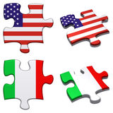 USA & Italy puzzle. 3d rendered USA and Italy puzzles isolated royalty free illustration
