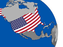 USA and its flag on globe. Political map USA with national flag symbol embedded into the country. 3D illustration Royalty Free Stock Photo