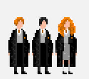 USA, JANUARY 25, 2016: Stylized pixel harry potter cast. USA, JANUARY 25, 2016: Stylized pixel art illustration of three main characters of Harry Potter novels Royalty Free Stock Photos