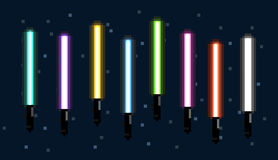 USA, JANUARY 26, 2016: Stylized pixel illustration of lightsabers. USA, JANUARY 26, 2016: Stylized pixel art illustration of different colored lightsabers from Stock Photos