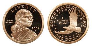 USA Jeden dolar moneta odizolowywająca na białym tle obraz stock