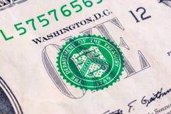 USA jeden dolarowego rachunku zbliżenie makro-, 1 usd banknotu Zdjęcia Stock