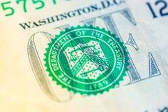 USA jeden dolarowego rachunku zbliżenie makro-, 1 usd banknotu Fotografia Stock